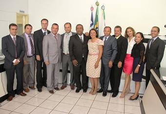 Abertura dos trabalhos legislativos em Riachão do Jacuípe.prefeita e vereadores