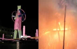Judas antes e depois de queimado.