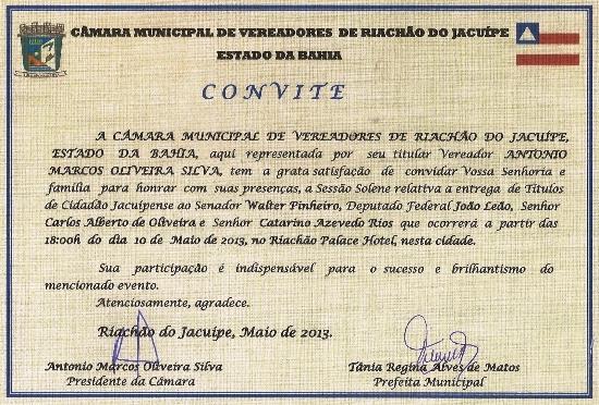 convite titulo de cidadao jacuipense