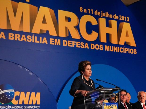 Dilma discursa na Marcha em Defesa dos Municípios (Foto: Roberto Stuckert Filho/PR)