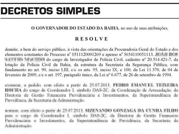 Investigador suspeito de matar a esposa em 2011 foi expulso da Polícia Civil da Bahia (Foto: Reprodução Diário Oficial da Bahia)