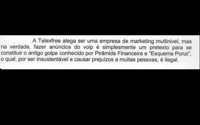 Foto: Reprodução Trecho da ação civil pública do Ministério Público do Acre (MP-AC) sobre a Telexfree