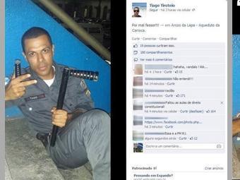 """PM """"Tiago Tiroteio"""" em postagem no Facebook"""