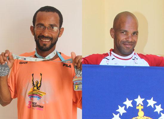 Kalunga exibe duas medalhas conquistadas nas duas maratonas que participou e Bilia a bandeira coiteense.