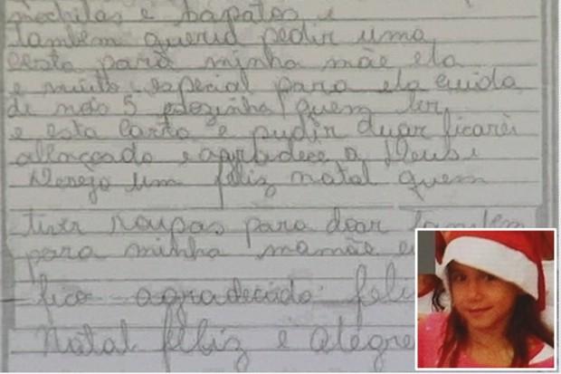 Carta que a menina fez pedia presentes para irmãos e mãe Foto: Reprodução
