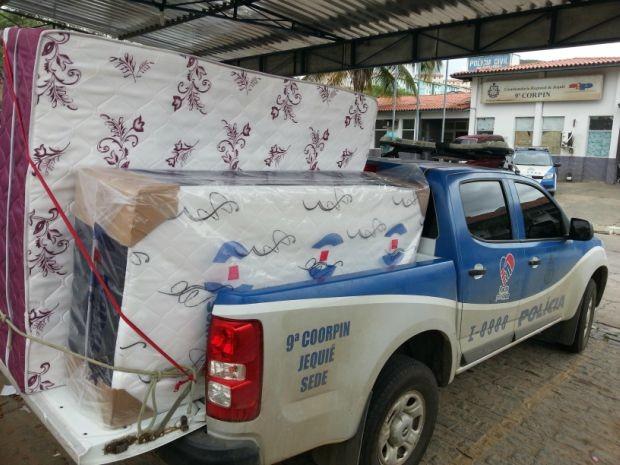 Cargas de colchões é recuperada na Bahia Foto: Divulgação/Polícia Civil