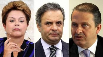 A ordem dos três primeiros: Dilma (PT) Aécio (PSDB) Eduardo (PSB).