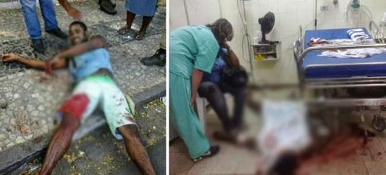Foto a esquerda a vítima estava baleada e foi levada para o hospital onde foi morto.