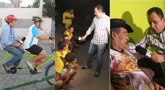 Jorge Araújo na bicicleta com Boba, entrevistando os 12 irmãos e no bate papo com Sr Nascimento