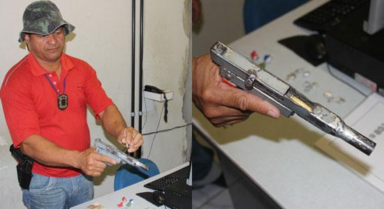 """Policial Civil """"Pesadelo"""" mostra com detalhe a arma artesanal com grande poder de fogo."""