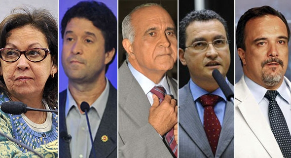 Paulo Souto (DEM), Rui Costa (PT), Lídice da Mata (PSB), Rogério Da Luz (PRTB) e Marcos Mendes (PSOL)