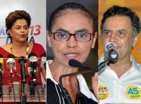 Dilma Rousseff fica à frente de Marina Silva no primeiro turno da corrida ao Palácio do Planalto.