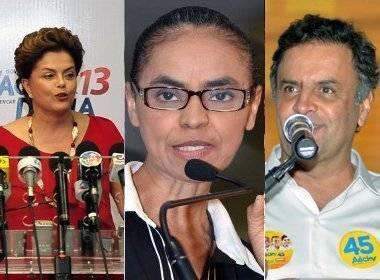 Dilma Rousseff (PT), Marina Silva (PSB) e  Aécio Neves (PSDB)