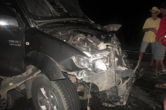 Situação da Hilux depois do acidente.Ninguém ficou ferido.