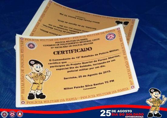As criança foram contempladas com Certificado.