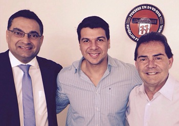 Da esquerda para a direita: Luciano Araújo presidente estadual, Bruno Gomes presidente municipal e Paulinho da Força Sindical presidente nacional do SD.