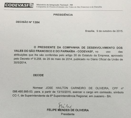 zé hailton nomeado superintendente da codevasf-4