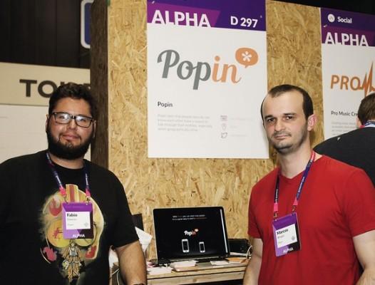 Fabio Daneze e Marcos Borges, desenvolvedores do aplicativo Popin, no Web Summit 2015, em Dublin, Irlanda