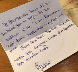 Bandido diz na carta que não dormiu, arrependido.
