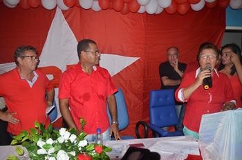 Deputada Fátima Nunes ao lado de Germano e ex-prefeito de Camaçari Luiz Caetano.