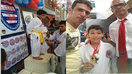 Itauã (faixa amarela) recebendo a medalha e na outra foto ao lado do pai Eudes e professor Luis (gravata vermelha)