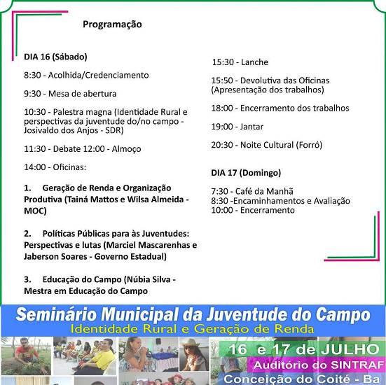 programação do seminário da juventude