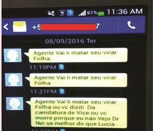 Print das mensagens via WhatsApp