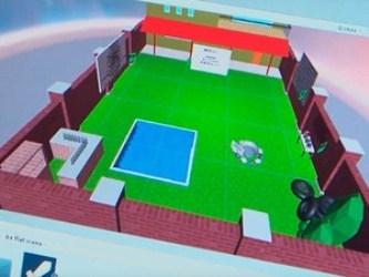 Imagem do quintal em 3D que faz parte do jogo criado pelos estudantes