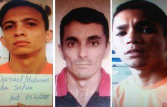 Daniel Medeiros (esq), Raimundo Linhares (centro) e Vinicius Santos (dir) fugiram de presídio
