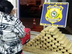 Mulher foi presa ao transportar 42 kg de drogas dentro de mala em ônibus