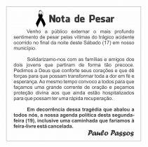 Nota de pesar do prefeito do município de Cansanção