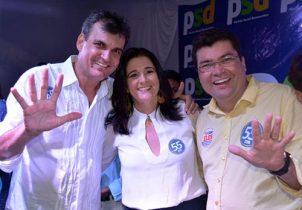 Quitéria ao lado do esposo e ex-prefeito Junior do Max e do vice Marcinho da CLN
