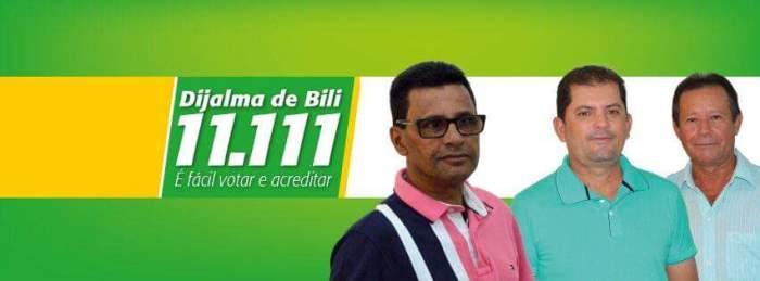 Por ironia do destino o número de Dijalma só tem o númenro que ele precisou para se eleger. A sua esquerda o candidato eleito prefeito Raulzinho e o secretário de Administração Laurindo Nazário