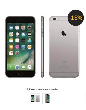 iPhone 6S é um dos produtos que está sendo vendido como se houvesse um desconto, mas houve aumento de certca de 20% (Foto: Reprodução) Play Unmute Fullscreen Play Unmute Fullscreen