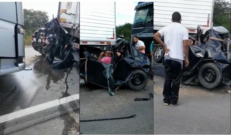 Carro de passeio é prensado entre duas bitrem e causa a morte de duas  pessoas e deixa outras duas feridas – Calila Noticias